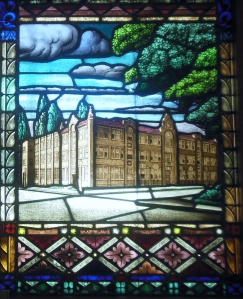 Original headquarters of Our Sunday Visitor, from a stained glass window that used to hang in Archbishop Noll's home