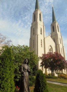 Statue of St. Mother Theodore Guerin in front of the Cathedral of the Immaculate Conception