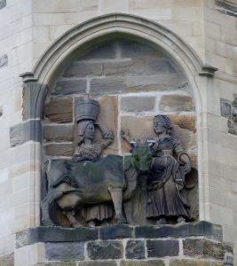 The tale of the Dun Cow is commemorated in a bas-relief sculpture on the exterior of Durham Cathedral.