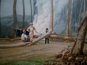 Spring-Burning Fallen Trees in a Girdled Clearing-Western Scene, by George Harvey, 1841