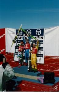 Kjetil Andre Aamodt, Stephan Eberharter (Austria), Daniel Mahrer (Switzerland), 3/7/93