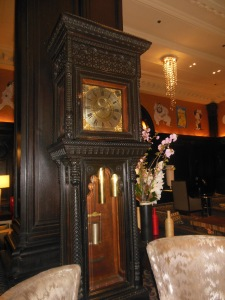 The grandfather clock in the Algonquin's oak-paneled lobby is as old as the hotel and is wound by hand daily.
