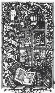 Grolier Club bookplate, from the cover of the Spring 1985 issue of The Journal of Library History