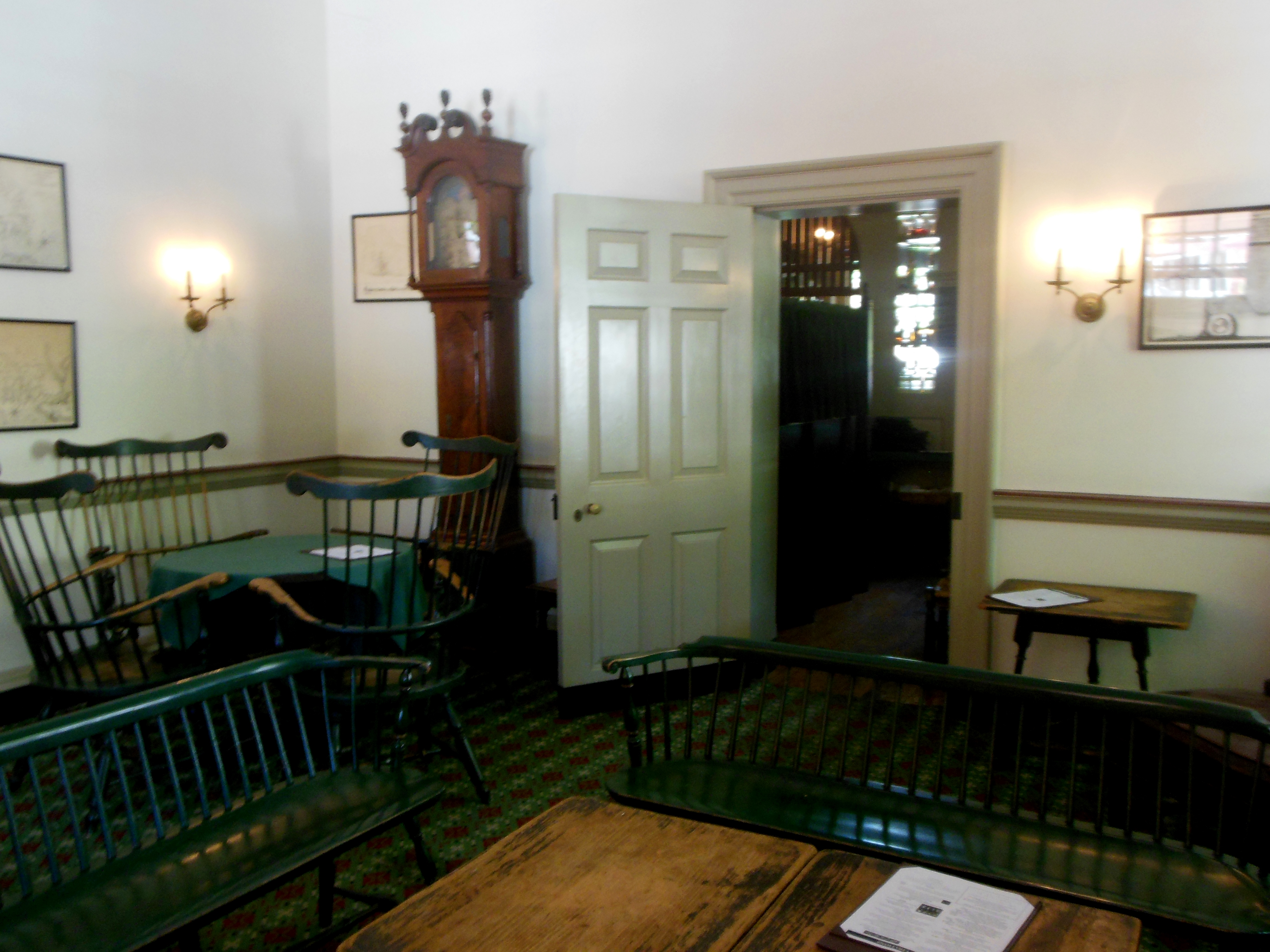 Entering City Tavern, you'll find the Subscription Room on your right,  where tavern-goers read magazines and newspapers from around the world.