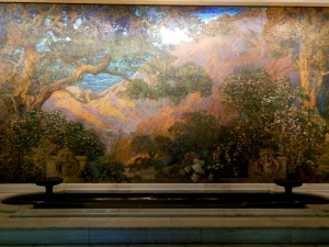 The Dream Garden, a glass mosaic mural designed by Maxfield Parrish and executed by Louis Comfort Tiffany in 1916 for the lobby of the Curtis Publishing Company, publisher of the Saturday Evening Post and Ladies Home Journal, at Sixth and Walnut Streets in Philadelphia.